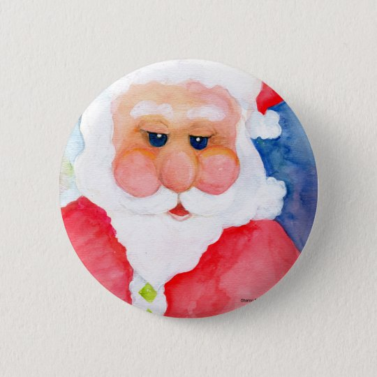 Santa Claus Original Watercolor 6 Cm Round Badge