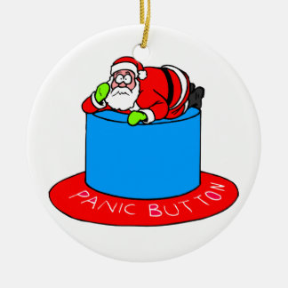 Santa Claus Panic Button Double-Sided Ceramic Round Christmas Ornament