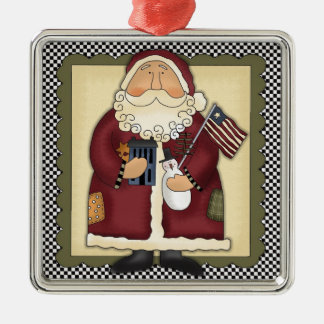 Santa Claus Patriotic Country Christmas Keepsake Christmas Ornament