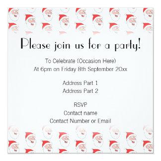 Santa Claus Pattern. 13 Cm X 13 Cm Square Invitation Card