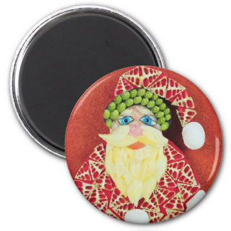 Santa Claus pin from Seashells 6 Cm Round Magnet