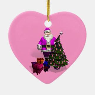 Santa Claus Pink Ribbons Christmas Ornament