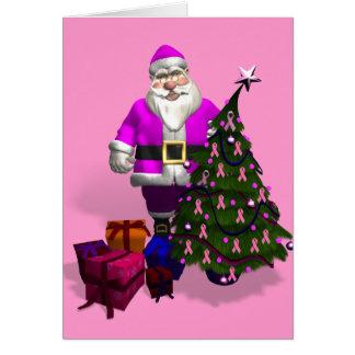 Santa Claus Pink Ribbons Greeting Card