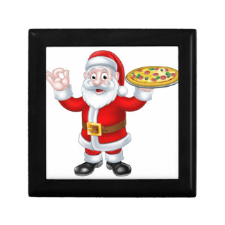 Santa Claus Pizza Christmas Cartoon Character Small Square Gift Box