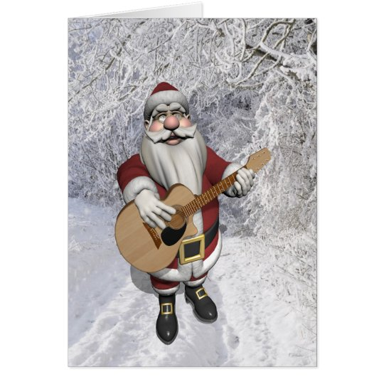 Santa Claus Playing Christmas Songs On His Guitar