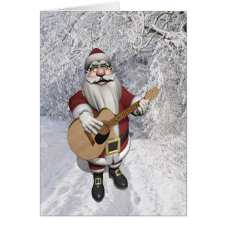 Santa Claus Playing Christmas Songs On His Guitar Greeting Card