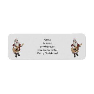 Santa Claus Playing Christmas Songs On His Guitar Return Address Label
