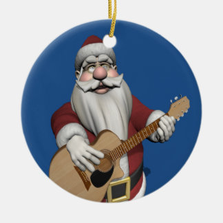 Santa Claus Playing Christmas Songs On His Guitar Round Ceramic Decoration