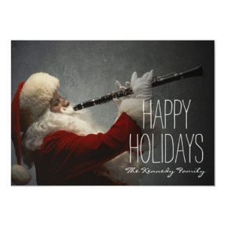 Santa Claus Playing Clarinet 13 Cm X 18 Cm Invitation Card