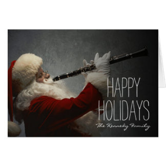 Santa Claus Playing Clarinet Card