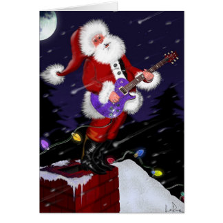 Santa Claus Playing Electric Guitar Card