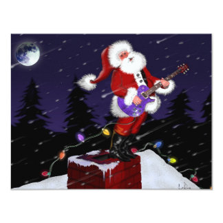 Santa Claus Playing Electric Guitar Custom Invites
