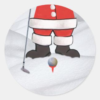 Santa Claus Playing Golf in the Snow Round Sticker