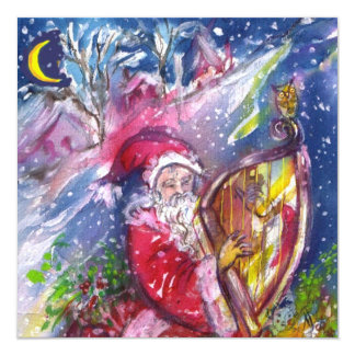 SANTA CLAUS PLAYING HARP - CHRISTMAS PARTY 13 CM X 13 CM SQUARE INVITATION CARD