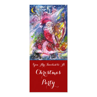 SANTA CLAUS PLAYING HARP CHRISTMAS PARTY Programme Card