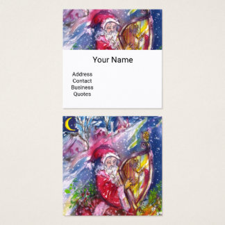 SANTA CLAUS PLAYING HARP IN MOONLIGHT Christmas Square Business Card