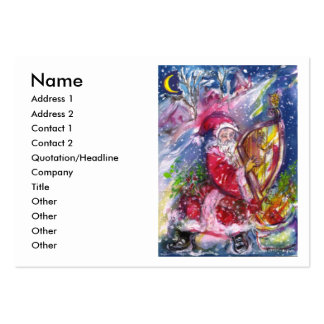 SANTA CLAUS PLAYING HARP IN THE MOONLIGHT BUSINESS CARD TEMPLATES