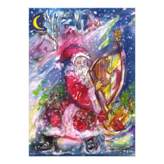 SANTA CLAUS PLAYING HARP IN THE MOONLIGHT PERSONALIZED INVITATIONS
