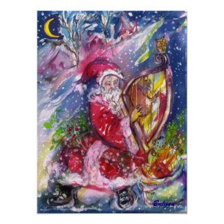 SANTA CLAUS PLAYING HARP IN THE MOONLIGHT POSTER