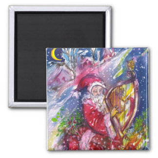 SANTA CLAUS PLAYING HARP IN THE MOONLIGHT SQUARE MAGNET