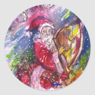 SANTA CLAUS PLAYING HARP IN THE MOONLIGHT STICKER