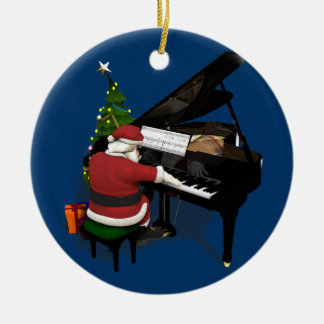 Santa Claus Playing Piano Christmas Ornament