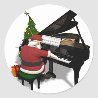Santa Claus Playing Piano Classic Round Sticker