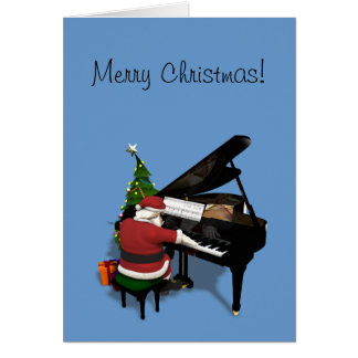 Santa Claus Playing Piano Greeting Card
