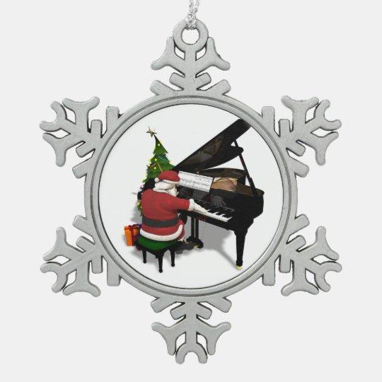 Santa Claus Playing Piano Pewter Snowflake Decoration