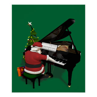Santa Claus Playing Piano Poster