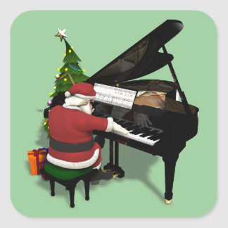 Santa Claus Playing Piano Square Sticker