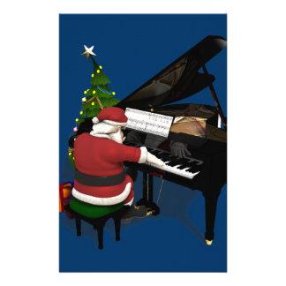 Santa Claus Playing Piano Customized Stationery