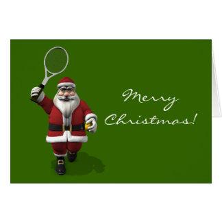 Santa Claus Playing Tennis Card