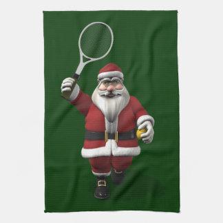Santa Claus Playing Tennis Tea Towel