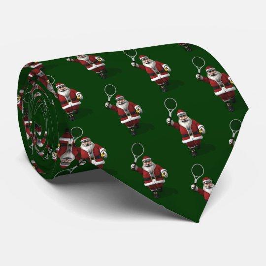 Santa Claus Playing Tennis Tie