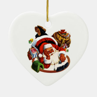 Santa Claus Playing With Trains Christmas Ornament
