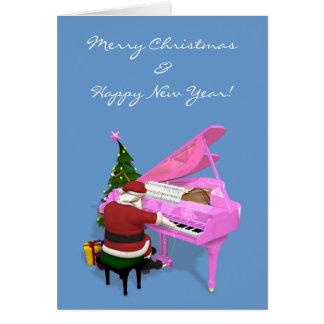Santa Claus Plays Pink Piano Greeting Card