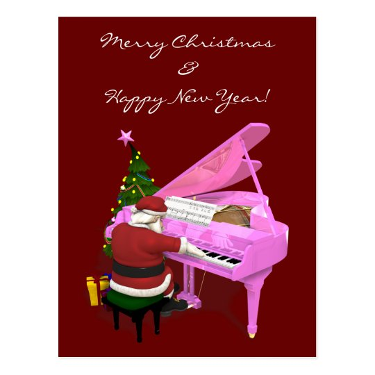 Santa Claus Plays Pink Piano Postcard