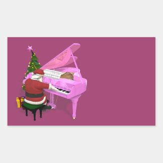 Santa Claus Plays Pink Piano Rectangular Sticker