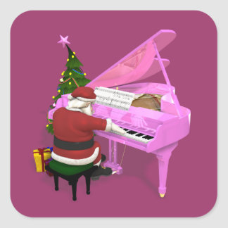 Santa Claus Plays Pink Piano Square Sticker
