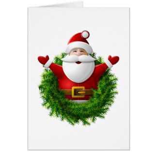 Santa Claus Pops Out of the Christmas Wreath Greeting Card