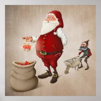Santa Claus prepares gifts Poster