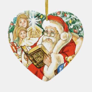 Santa Claus Reading the Bible on Christmas Eve Christmas Ornament