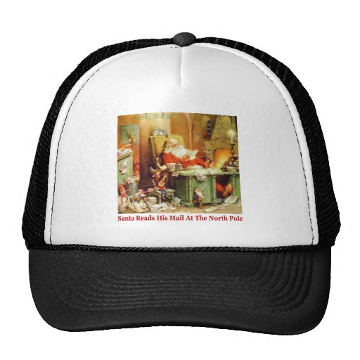 Santa Claus Reads His Mail at the North Pole Trucker Hats