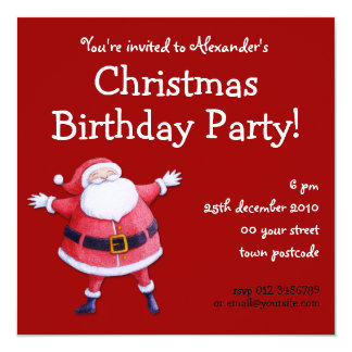 Santa Claus red Christmas Birthday Invitation