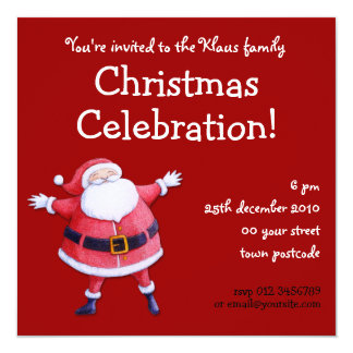 Santa Claus red Christmas Party Invitation