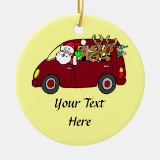 Santa Claus,Reindeer And Elves In Van Round Ceramic Decoration