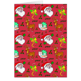 Santa Claus – Reindeer & Candy Canes Stationery Note Card