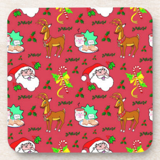 Santa Claus – Reindeer Candy Canes Beverage Coasters