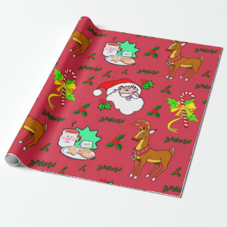 Santa Claus, Reindeer, Candy Canes, Holly, Cookies Wrapping Paper